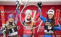 1. Mikaela SHIFFRIN USA, 2. Tessa WORLEY FRA, 3. Sofia GOGGIA ITA