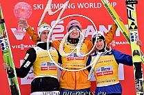 Overall 2014/15: 1. FREUND Severin GER, 2. PREVC Peter SLO, 3. KRAFT Stefan AUT