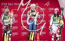 1. Mikaela SHIFFRIN USA, 2. Frida HANSDOTTER SWE, 3. Wendy HOLDENER SUI