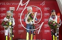 1. Mikaela SHIFFRIN USA, 2. Bernadette SCHILD AUT, 3. Frida HANSDOTTER SWE